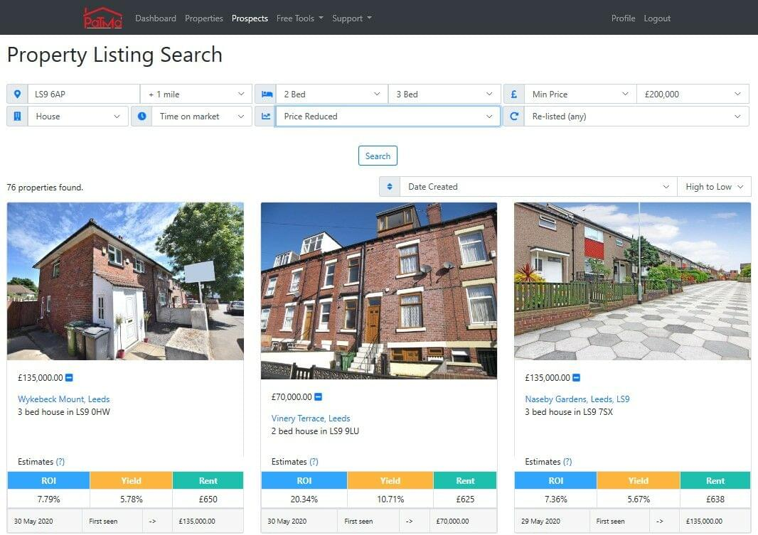 Example property listing search: