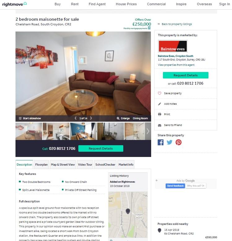 Old Rightmove page layout