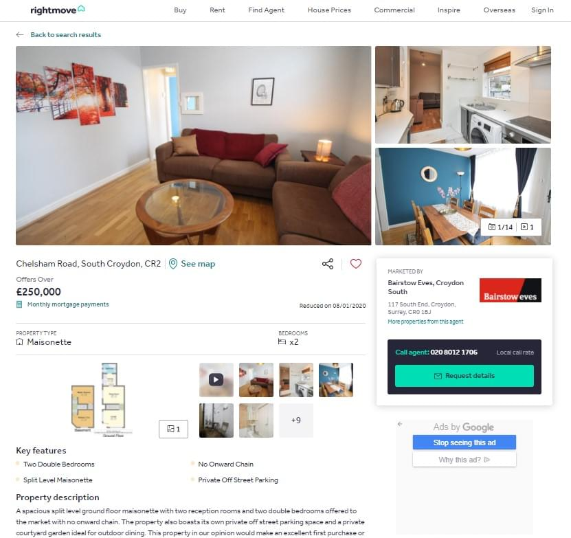 New Rightmove page layout
