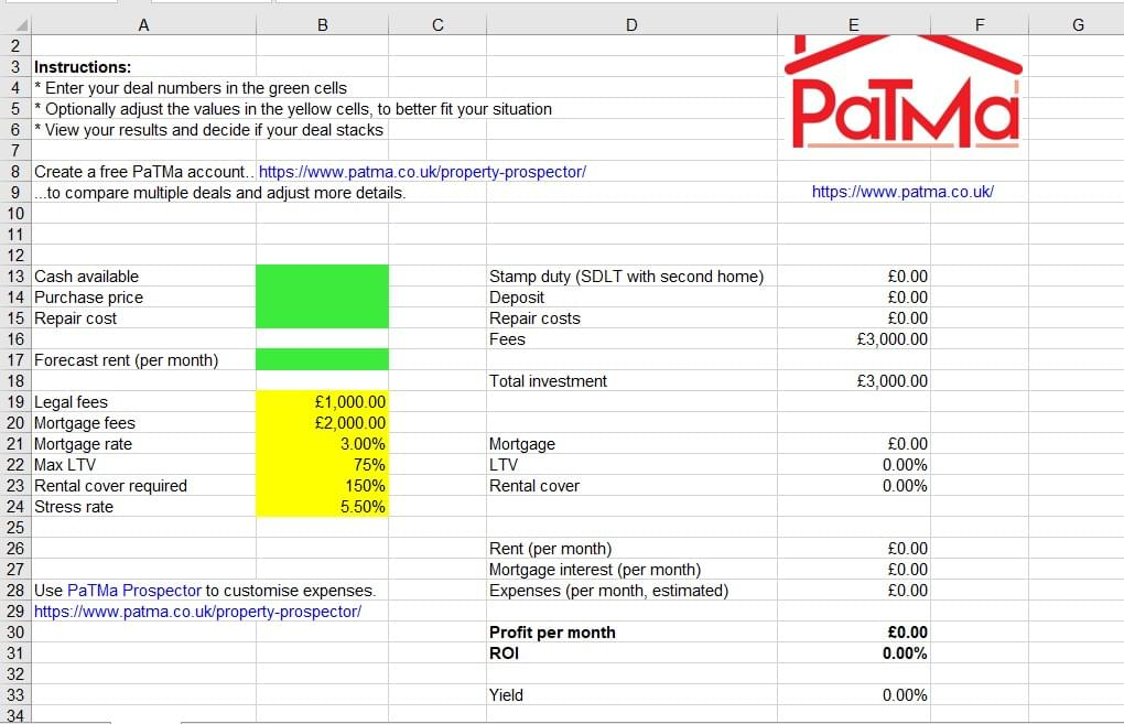 Free Property Deal Analyser Spreadsheet
