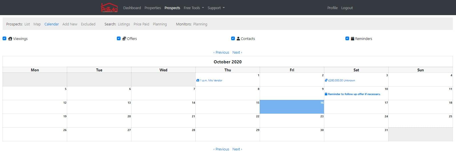 Example of calendar view