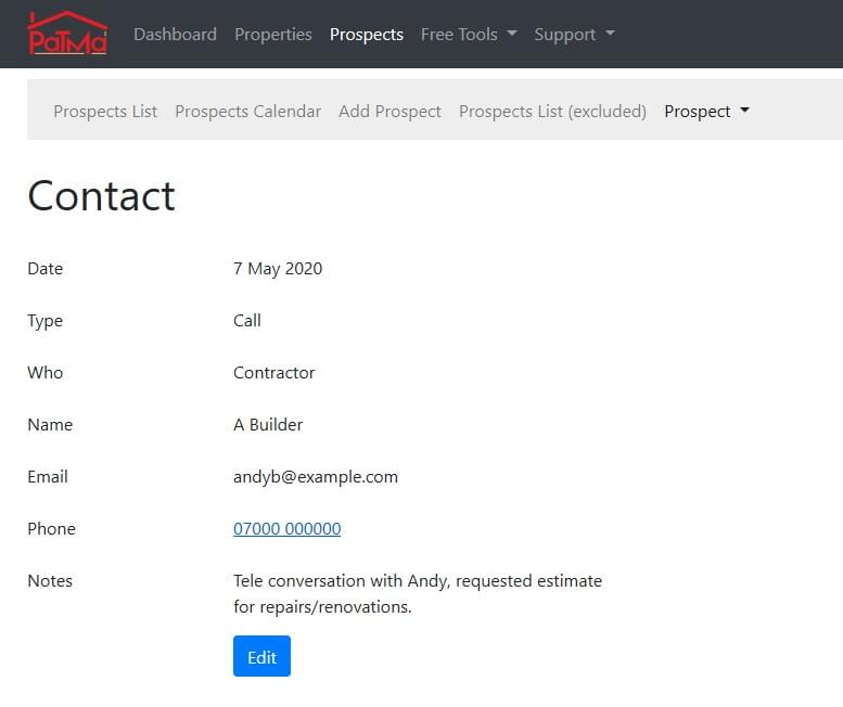 Example Contact Record
