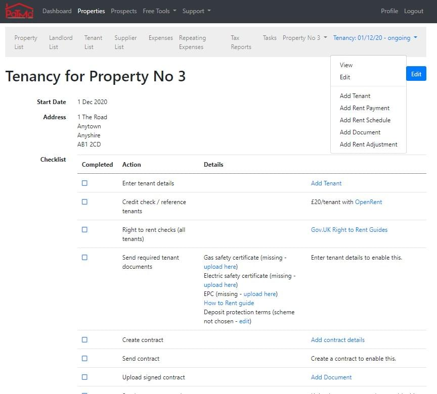 Create a new tenancy quickly using a simple, clear checklist