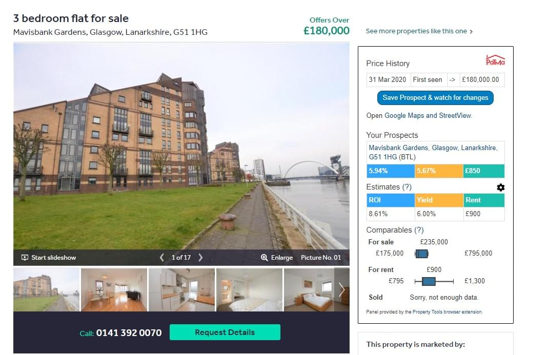 Example Rightmove Listing Showing Browser Extension