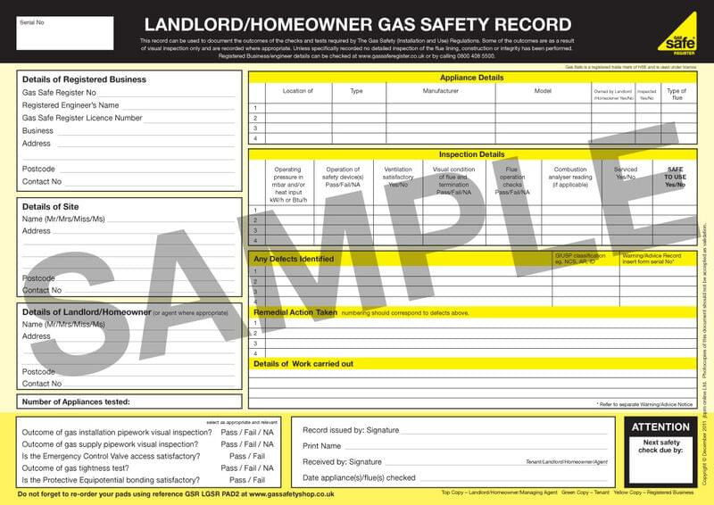 Example gas certificate image