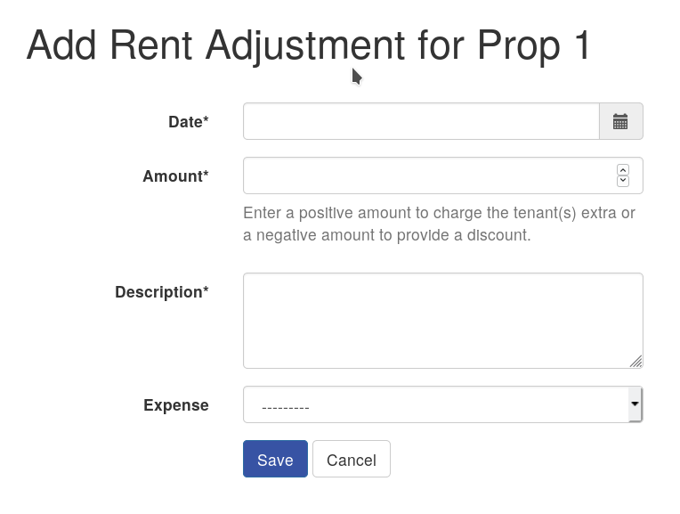 Screenshot of adding a rent adjustment