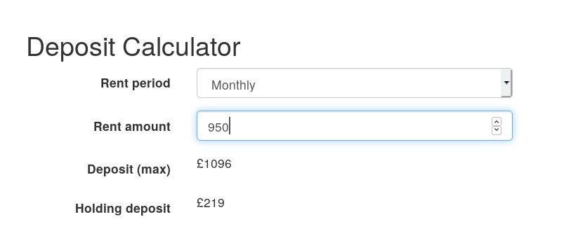 Screenshot of Tenant Fees Act deposit calculator