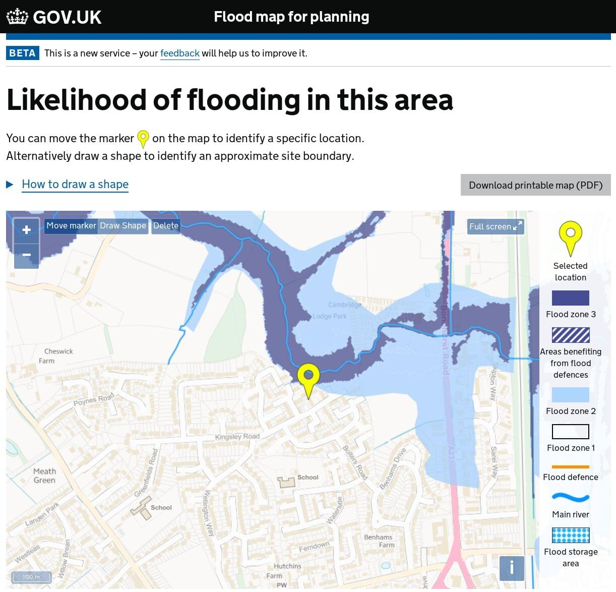 Environment Agency Floodrisk screenshot