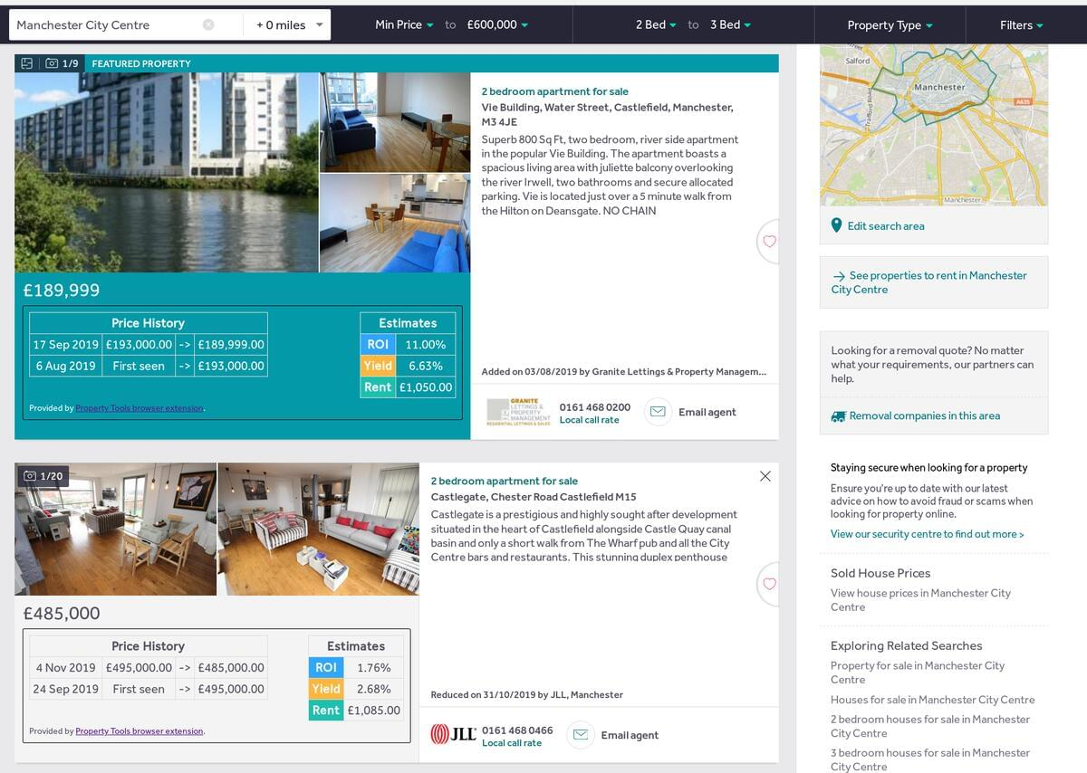 Screenshot of Rightmove search with price history