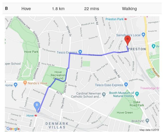 Screenshot of walking route to local train station