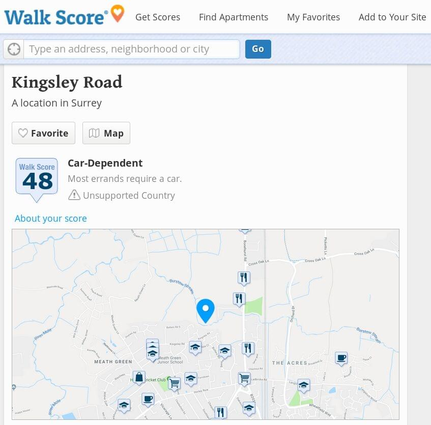 WalkScore screenshot