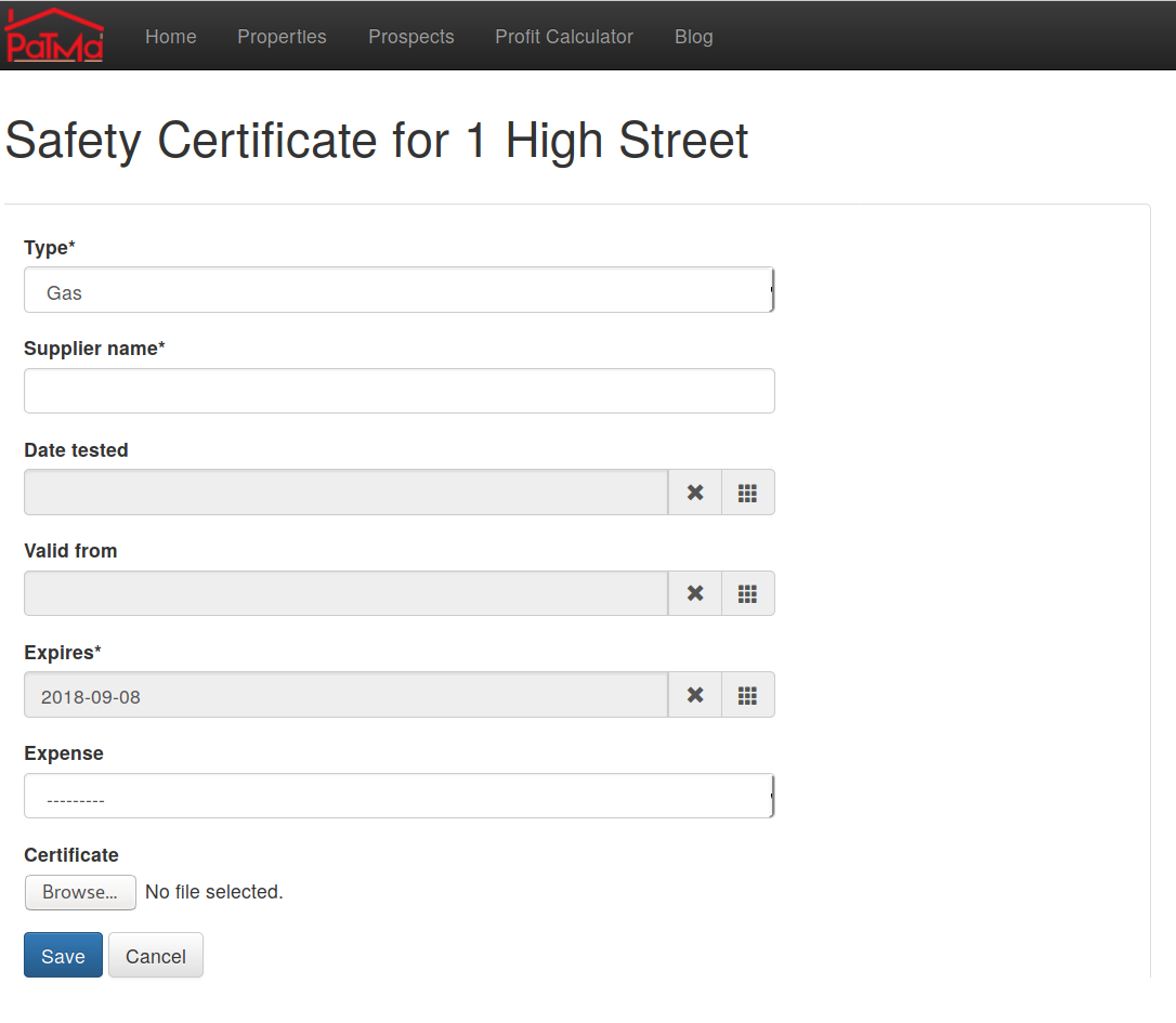 PaTMa add safety certificate screenshot
