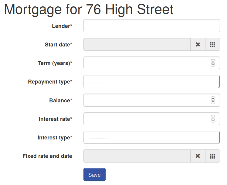 Mortgage details form